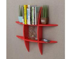 vidaXL Estante exhibidor flotante de tablero DM rojo para libros/DVDs