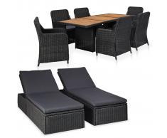 vidaXL Juego de muebles para jardín 9 piezas ratán sintético negro