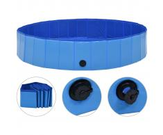 vidaXL Piscina para perros plegable PVC azul 160x30 cm
