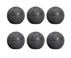 Bolsius Velas rústicas de bola 6 unidades 80 mm gris oscuro