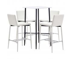 vidaXL Juego de mesa alta y taburetes 5 piezas cuero sintético blanco