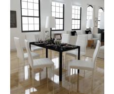 vidaXL Conjunto de mesa comedor 7 piezas blanco y negro