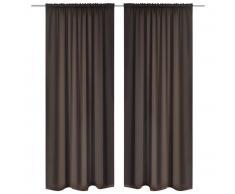 vidaXL 2 cortinas marrones oscuras con jaretas, blackout 135 x 245 cm
