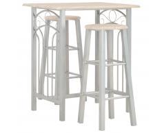 vidaXL Set mesa y sillas altas de cocina 3 piezas madera y acero