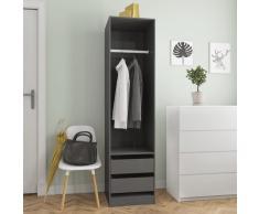 vidaXL Armario con cajones de aglomerado gris brillante 50x50x200 cm