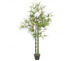vidaXL Planta artificial bambú con macetero 160 cm verde