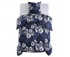 vidaXL Funda nórdica 2 piezas floral 140x220/60x70 cm azul marino