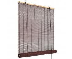 vidaXL Persiana enrollable de bambú marrón oscuro 120x220 cm