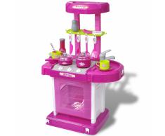 vidaXL Cocina de juguete para niños con efectos luz y sonido (Rosa)
