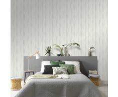 vidaXL Rollos de papel pintado no tejido 2 uds ondas blanco 0,53x10 m