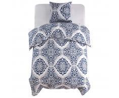vidaXL Set funda edredón diseño clásico azul marino 140x200/60x70 cm