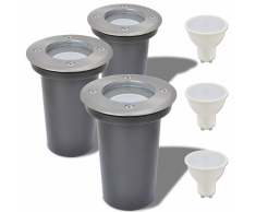 vidaXL Focos LED empotrables de suelo para exteriores redondos 3 uds