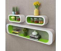 vidaXL 3 cubos estantes exhibidores flotantes de tablero DM blanco-verde