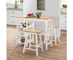 vidaXL Conjunto de mesa alta de cocina 3 piezas MDF blanco