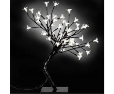 vidaXL Arbol mediano con luces LED blancas cerezo, 2 unidades