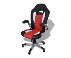 vidaXL Silla De Oficina De Cuero Diseño Moderno Rojo