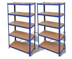 vidaXL Estante de 2 unidades almacenamiento azul