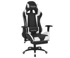 vidaXL Silla de escritorio reclinable Racing con reposapiés blanco