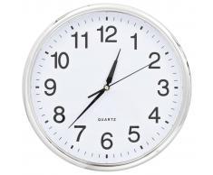 vidaXL Reloj de pared con movimiento de cuarzo 36 cm plateado