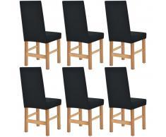 vidaXL Funda elástica para silla negra piqué 6 unidades