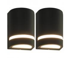 vidaXL Lámparas de pared para jardín 2 uds. semicircular negra 35 W