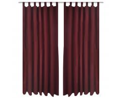 vidaXL 2 cortinas micro-satinadas con trabillas color burdeos, 140 x 245 cm