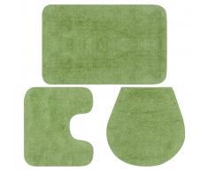 vidaXL Conjunto de alfombrillas de baño de tela 3 piezas verde