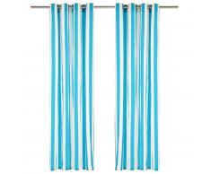 vidaXL Cortinas con aros de metal 2 pzas tela azul a rayas 140x225 cm