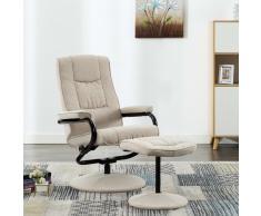 vidaXL Sillón reclinable con reposapiés de tela color crema