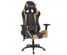 vidaXL Silla de escritorio reclinable Racing cuero artificial dorada