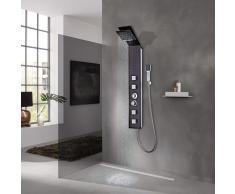 vidaXL Sistema de panel ducha vidrio marrón