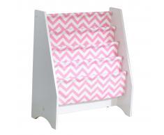 KidKraft Librería infantil de tela rosa y blanco 60,96x29,85x71,12 cm