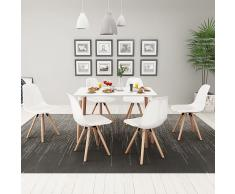 vidaXL Conjunto de mesa de comedor y sillas 7 uds blanco