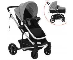 vidaXL Cochecito/Silla de bebé 2 en 1 aluminio gris y negro