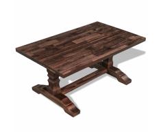 vidaXL Mesa pedestal de centro madera maciza reciclada 100x60x45 cm