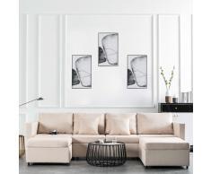 vidaXL Sofá cama extraíble de 4 plazas tela color crema