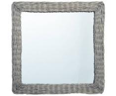 vidaXL Espejo de mimbre 60x60 cm