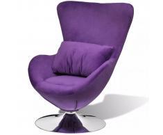 vidaXL Sillón giratorio con cojin en forma de huevo púrpura