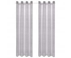 vidaXL Visillo de tejido a rayas 2 piezas gris 140x175 cm