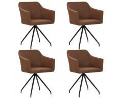 vidaXL Sillas de comedor giratorias 4 unidades de tela marrón