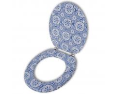 vidaXL Asiento de inodoro WC con tapa MDF diseño porcelana