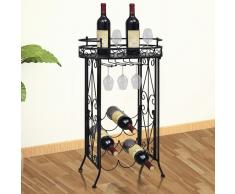 vidaXL Botellero de metal con soportes para copas 9 botellas