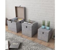 vidaXL Cajas de almacenaje apariencia hormigón 3 unidades gris MDF
