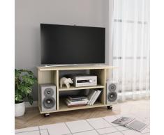 vidaXL Mueble para TV con ruedas aglomerado roble Sonoma 80x40x40 cm