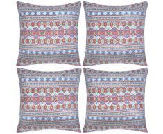 vidaXL Fundas de cojín estampado azteca lona multicolor 40x40 cm 4 uds