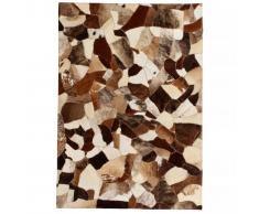 vidaXL Alfombra de retazos de cuero 80x150 cm aleatorio marrón/blanco
