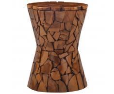 vidaXL Taburete mosaico de madera de teca maciza marrón
