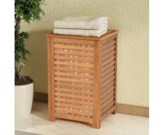 vidaXL Cesto para ropa sucia madera maciza nogal 39x39x65 cm