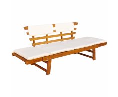 vidaXL Tumbona/Banco de jardín madera acacia maciza 190x66x75 cm