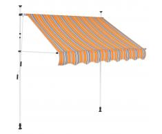 vidaXL Toldo manual retráctil 150 cm amarillo y azul rayas